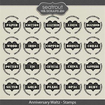 Anniversary Waltz Stamps Digital Art - Digital Scrapbooking Kits