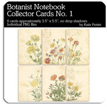 Botanist Notebook Collector Cards No. 01 Digital Art - Digital Scrapbooking Kits