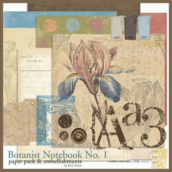 Botanist Notebook No. 01 Kit Digital Art - Digital Scrapbooking Kits