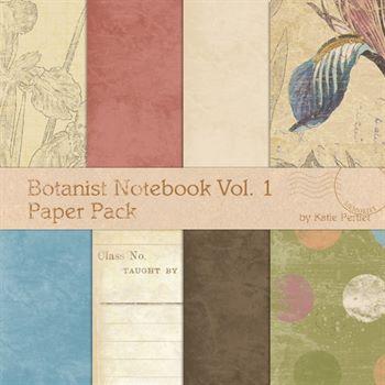 Botanist Notebook No. 01 Paper Pack Digital Art - Digital Scrapbooking Kits