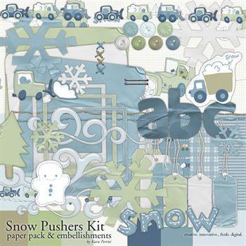Snow Pushers Kit Digital Art - Digital Scrapbooking Kits