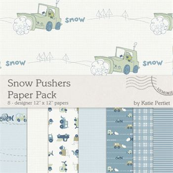 Snow Pushers Paper Pack Digital Art - Digital Scrapbooking Kits