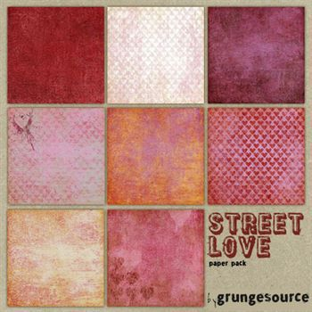 Street Love Paper Pack Digital Art - Digital Scrapbooking Kits