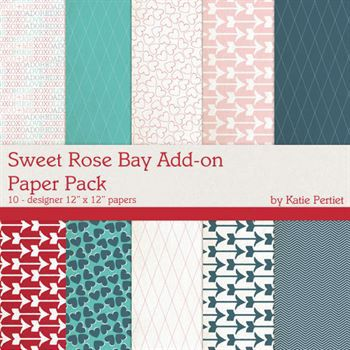 Sweet Rose Bay Add-on Paper Pack Digital Art - Digital Scrapbooking Kits