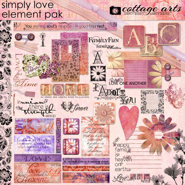 Simply Love Element Pak With Alphaset Digital Art - Digital Scrapbooking Kits