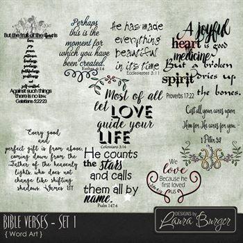 Bible Verses Set 1 Digital Art - Digital Scrapbooking Kits