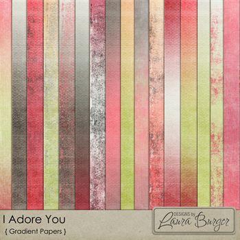 I Adore You Gradient Papers Digital Art - Digital Scrapbooking Kits