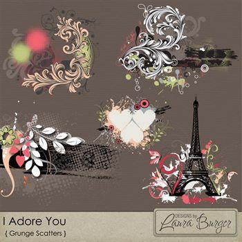 I Adore You Scatters Digital Art - Digital Scrapbooking Kits