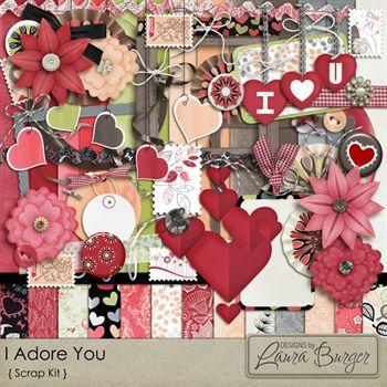 I Adore You Scrap Kit Digital Art - Digital Scrapbooking Kits