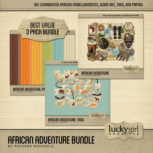 African Adventure Bundle Digital Art - Digital Scrapbooking Kits