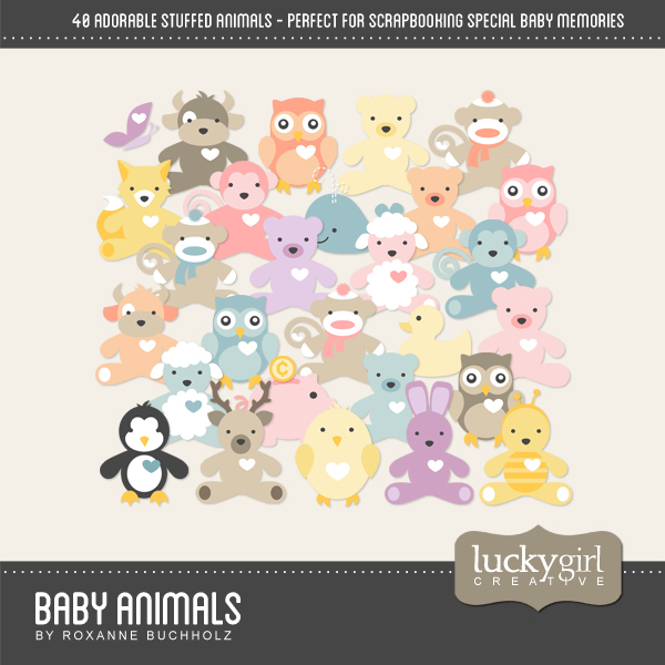 Baby Animals Digital Art - Digital Scrapbooking Kits