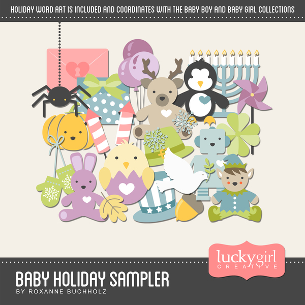 Baby Holiday Sampler Digital Art - Digital Scrapbooking Kits