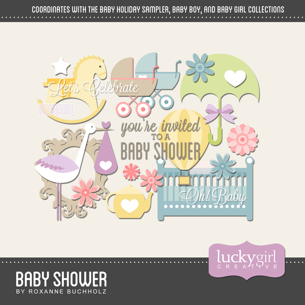 Baby Shower Digital Art - Digital Scrapbooking Kits