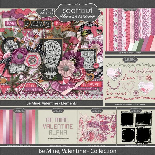 Be Mine, Valentine Bundled Collection Digital Art - Digital Scrapbooking Kits