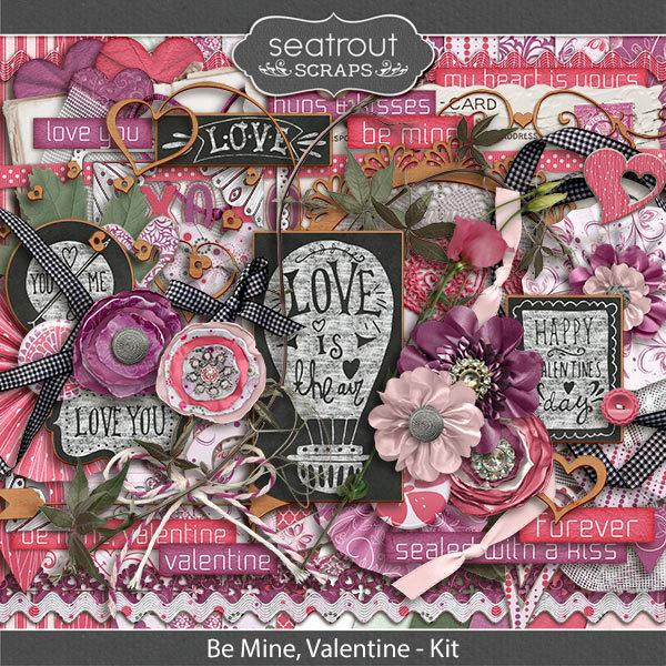 Be Mine, Valentine Kit Digital Art - Digital Scrapbooking Kits
