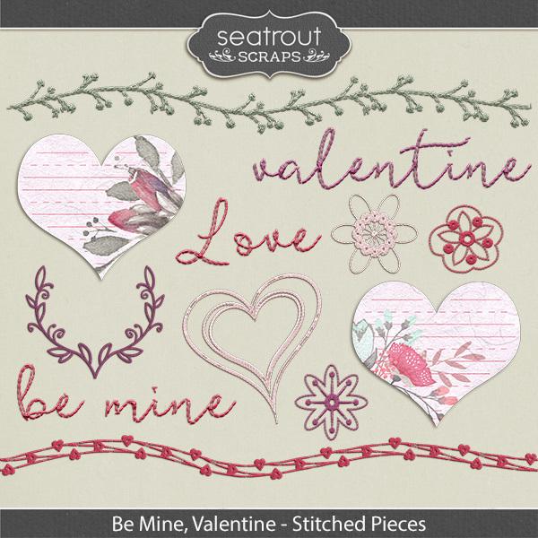Be Mine, Valentine Stitched Pieces Digital Art - Digital Scrapbooking Kits