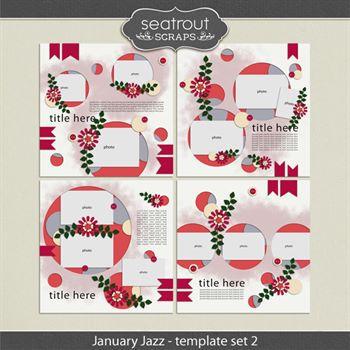 January Jazz Template Set 2 Digital Art - Digital Scrapbooking Kits