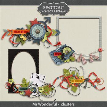 Mr Wonderful Clusters Digital Art - Digital Scrapbooking Kits