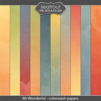 Mr Wonderful Colorwash Papers Digital Art - Digital Scrapbooking Kits