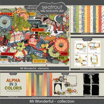 Mr Wonderful Complete Collection Digital Art - Digital Scrapbooking Kits