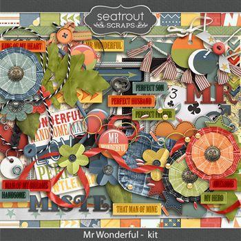 Mr Wonderful Kit Digital Art - Digital Scrapbooking Kits