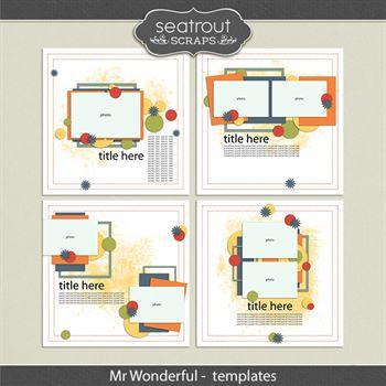 Mr Wonderful Templates Digital Art - Digital Scrapbooking Kits