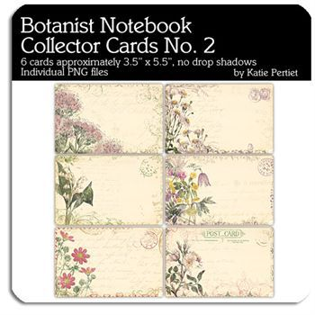 Botanist Notebook Collector Cards No. 02 Digital Art - Digital Scrapbooking Kits