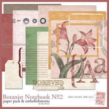 Botanist Notebook No. 02 Kit Digital Art - Digital Scrapbooking Kits
