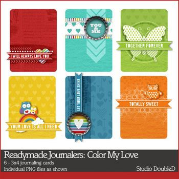 Readymade Journalers Color My Love Digital Art - Digital Scrapbooking Kits