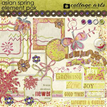 Asian Spring Element Pak Digital Art - Digital Scrapbooking Kits