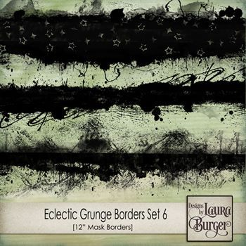 Eclectic Grunge Borders Set 6 Digital Art - Digital Scrapbooking Kits