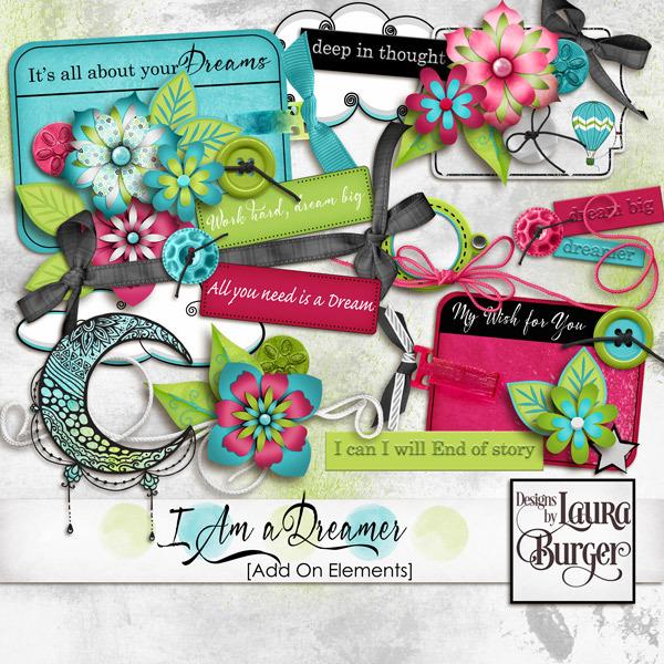 I Am A Dreamer Add On Elements Digital Art - Digital Scrapbooking Kits