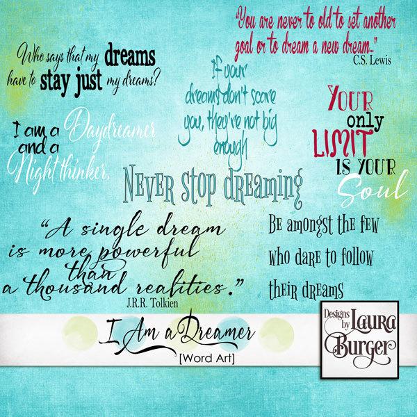 I Am A Dreamer Word Art Digital Art - Digital Scrapbooking Kits