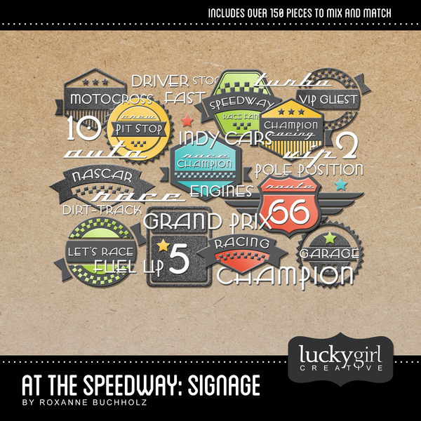 At The Speedway Signage Digital Art - Digital Scrapbooking Kits