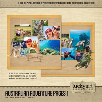 Australian Adventure Pages 1 Digital Art - Digital Scrapbooking Kits