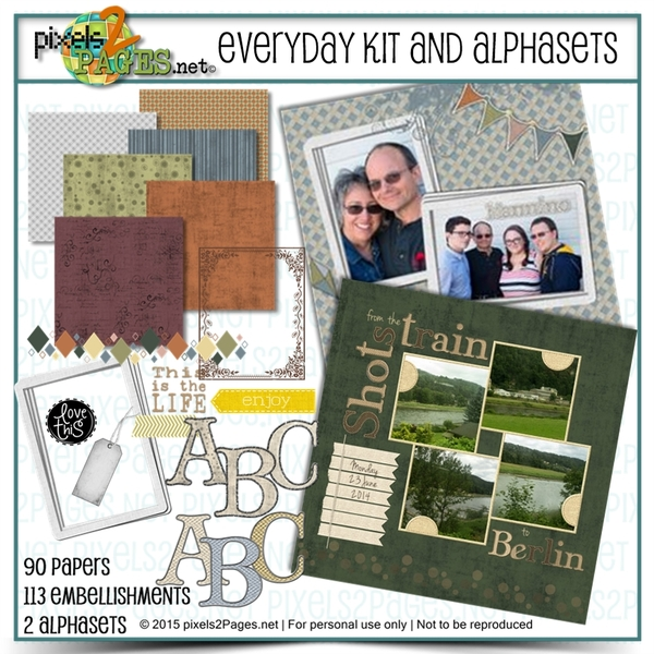 Everyday Kit And Alphasets Digital Art - Digital Scrapbooking Kits