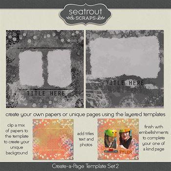 Create-a-page Template Set 2 Digital Art - Digital Scrapbooking Kits