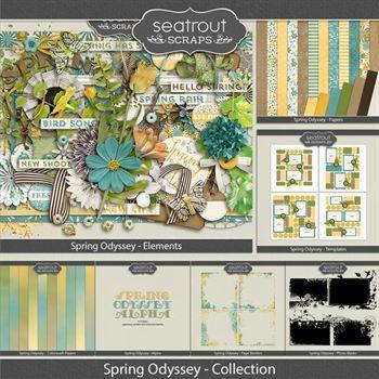 Spring Odyssey Bundled Collection Digital Art - Digital Scrapbooking Kits