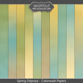 Spring Odyssey Colorwash Papers Digital Art - Digital Scrapbooking Kits