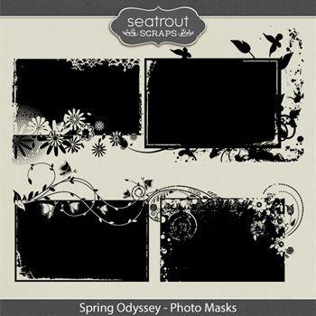 Spring Odyssey Photo Masks Digital Art - Digital Scrapbooking Kits