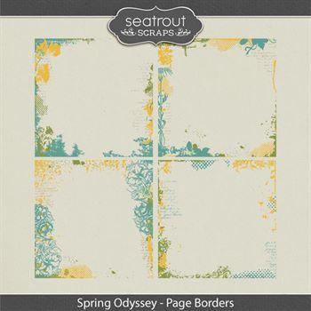 Spring Odyssey Page Borders Digital Art - Digital Scrapbooking Kits