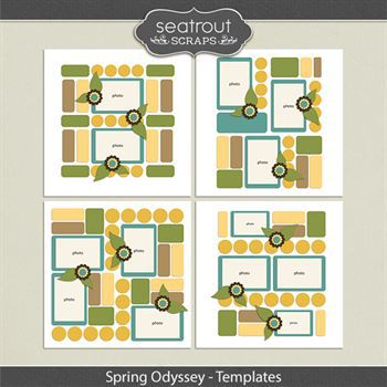 Spring Odyssey Templates Digital Art - Digital Scrapbooking Kits