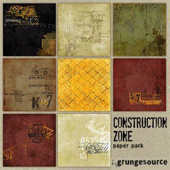 Construction Zone Paper Pack Digital Art - Digital Scrapbooking Kits