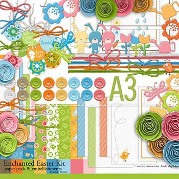 Enchanted Easter Kit Digital Art - Digital Scrapbooking Kits
