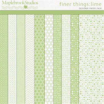 Finer Things No. 01 Lime Paper Pack Digital Art - Digital Scrapbooking Kits