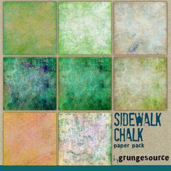 Sidewalk Chalk Paper Pack Digital Art - Digital Scrapbooking Kits