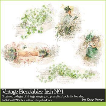 Vintage Blendables Irish No. 01 Digital Art - Digital Scrapbooking Kits