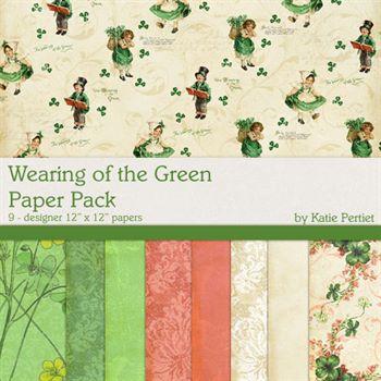 Wearing Of The Green Paper Pack Digital Art - Digital Scrapbooking Kits