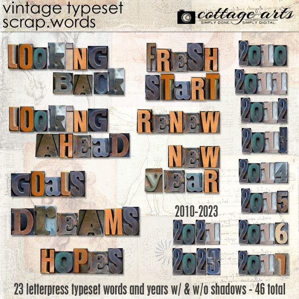 Vintage Typeset Scrap.words Digital Art - Digital Scrapbooking Kits