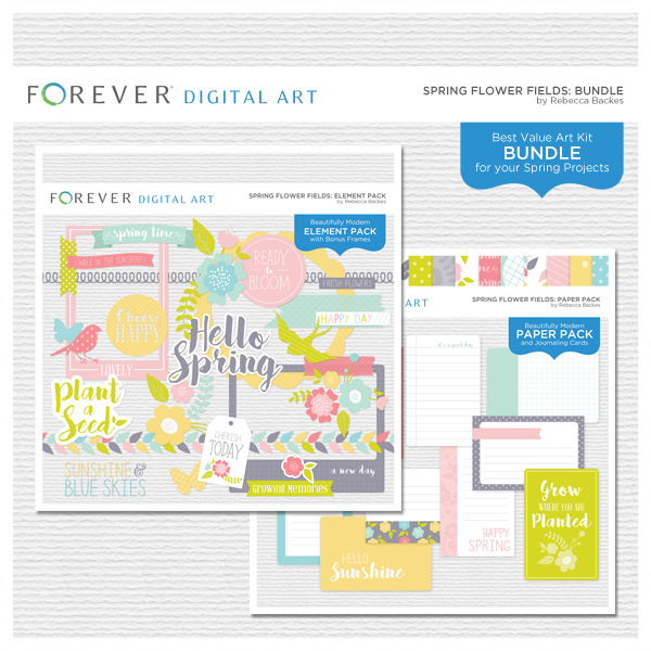 Spring Flower Fields Bundle Digital Art - Digital Scrapbooking Kits